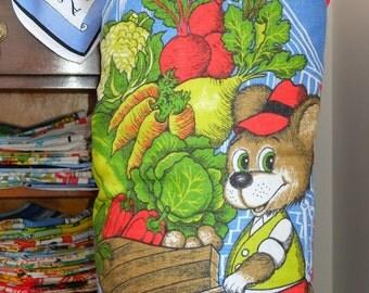 Vintage Allotment Mouse Tea Towel Cushion