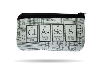 Periodic Table and Electrical Circuit Diagram Hand Printed Geeky Eyeglass Case