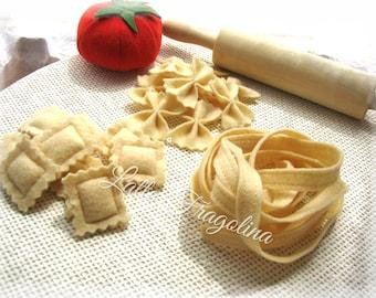 Pasta set,RAVIOLI,FETTUCCINE,FARFALLE, felt food toy,Italian cuisine,children,felt food