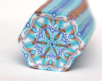 Large Hexagon Polymer Clay Cane in blue and brown