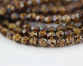 50 Opaque Beige-Picasso, 4mm Czech fire-polished glass faceted round (FP-4M-85)