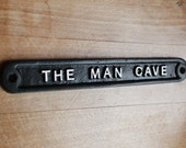 Vintage Man Cave Sign - Shed Garage Dad Gift Sign Plaque Solid Cast Metal UK Made