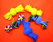 Set of five fleece cat toys.