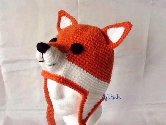 Crochet Fox Hat : Fox Hat For Adults. Crocheted Fox Hat. by AJsHooks on Etsy