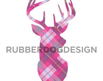 STAG / DEER / REINDEER Tartan Tweed Clip Art - Digital Clipart Graphics for Personal or Commercial Use