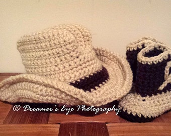 Crochet Cowboy or Cowgirl Hat and Boots Set