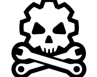 "Death Mechanic Skull and Cross wrenches 4"" Vinyl Decal Widow Sticker for Car, Truck, Motorcycle, Laptop, Ipad, Window, Wall, ETC"