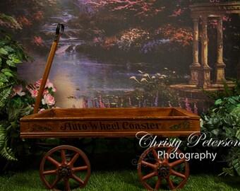 Garden Wagon Digital Background for Newborns, Babies and Children