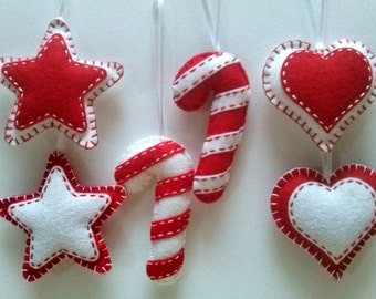 Felt christmas ornaments - set of 6 ornaments in white and red