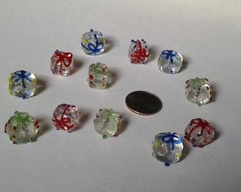 Glass Christmas present - gift lampwork glass beads