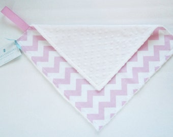 Mini Minky Blanket, Lovey Blanket, with Pacifier Loop, Pink Chevron Dot, White Minky Dimple Dot