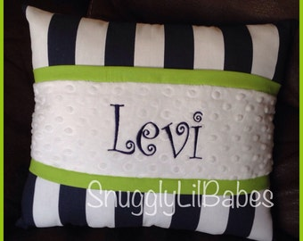 Navy stripe, lime pillow and white minky personalized pillow