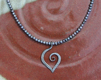Iron Jewelry: Forged Iron 6th Anniversary Heart Necklace on Grey Pearls
