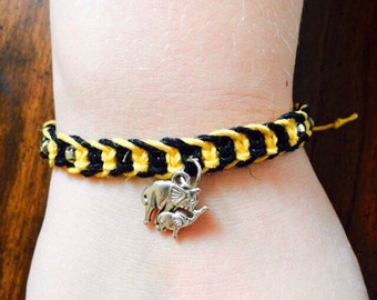 Elephant Macrame Hemp Bracelet, Adjustable, Black and Yellow