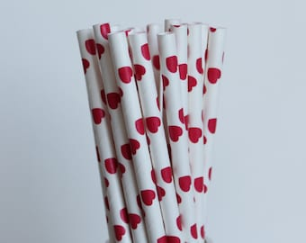 Red Heart Paper Straws-Red Straws-Heart Straws-Valentines Day Straws-Wedding Straws-Shower Straws-Mason Jar Straws-Party Straws-Paper Straws