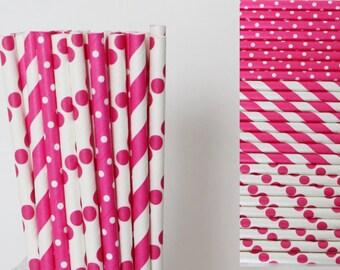 Hot Pink Paper Straw Mix-Polka Dot Straws-Hot Pink Straws-Striped Straws-Pink Straws-Party Straws-Princess Straws-Cake Pop Sticks