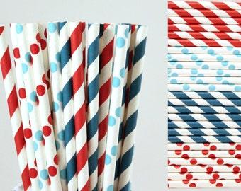 Dr Seuss Paper Straw Mix-Red Straws-Aqua Straws-Teal Straws-Striped Straws-Polka Dot Straws-Dr Seuss Party Straw-Mason Jar Straw-4th of July