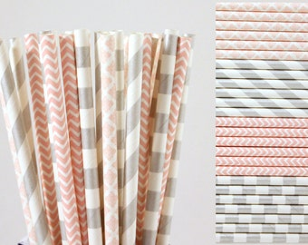 Light Pink and Silver Paper Straw Mix-Pink Straws-Silver Straws-Striped Straws-Chevron Straws-Damask Straws-Wedding Straws-Party Straws