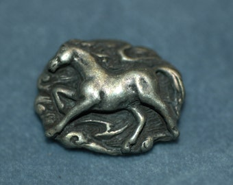 "Pewter Horse Button. Size 1"" (25mm)"