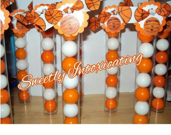 12 Basketball Themed Gumball Favor Tubes with White and Orange Gumballs and Basketball Ribbon. Team banquets, parties, end of the year gifts