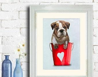Bulldog Buckets Of Love Red  Original Illustration Art Print Mixed Media Painting Wall Art Wall Decor Wall Hanging Love heart Valentine