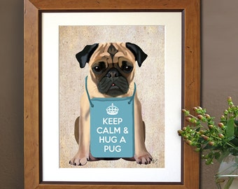 Hug a Pug Art Print Digital puggle Pug Illustration Pug Print Wall Decor Wall hanging Pug Dog Picture Pug Art Pug Picture Pug Painting