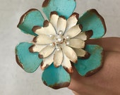 Turquoise Metal Flow Knob. Pearls in center. Drawer Pull. Cabinet Hardware.