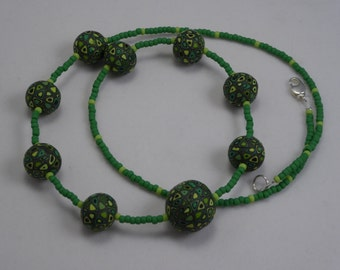 Hand made polymer clay beads and Japanese seed beads