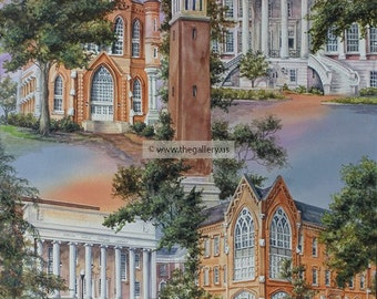 University of Alabama Original Watercolor by Anni Moller