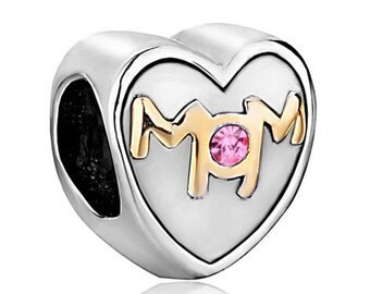 Authentic Pugster™ Mom Heart with pink stone charm for european style bracelet