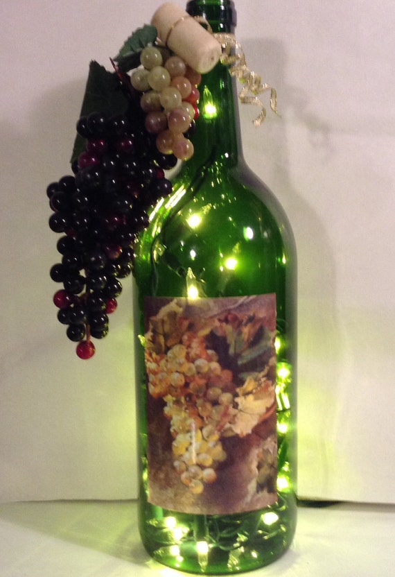 impressionistic grapes lighted wine bottle 1 5 liter. Black Bedroom Furniture Sets. Home Design Ideas