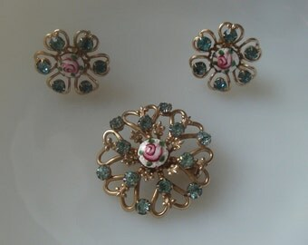 Vintage Brooch and Screwback Earring Set with Aqua Rhinestones and Guilloche Enamel, Fleur de Lis J103
