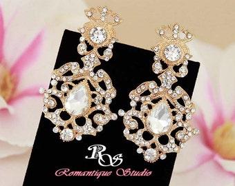 Gold crystal earrings gold bridal earrings filigree earrings vintage style wedding earrings bridal wedding accessories 1262G