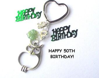 50th birthday gift - Personalised owl keychain - 50th gift for sister, friend, mum, aunt - Custom 50th birthday keychain - owl keyring - UK