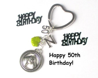50th birthday gift - Horse keychain - Personalised keyring - Horseriding gift - 50th gift for sister, friend, mum, aunt - 50th keychain