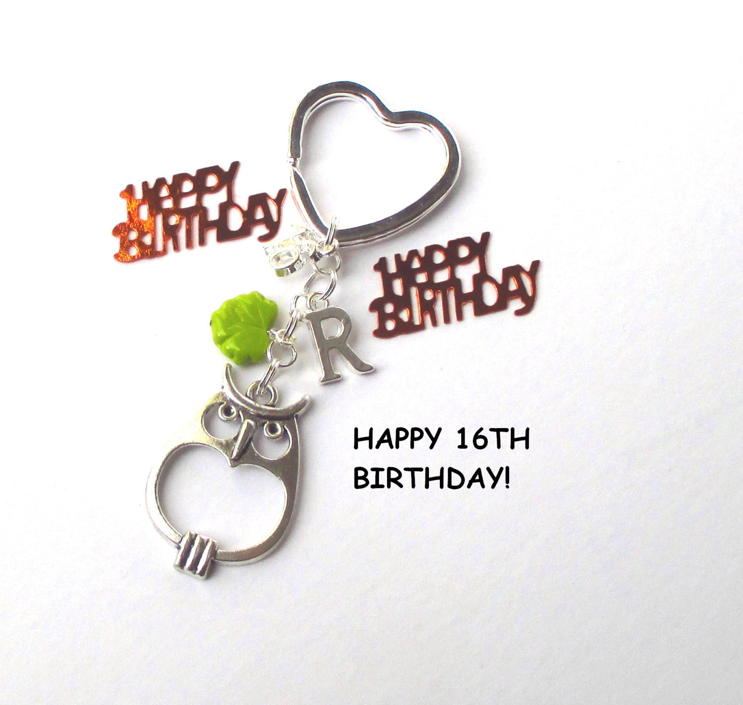 16th Birthday Gift Personalised Owl Keychain 16th Gift For