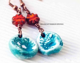 Boho Earrings, Bohemian Earrings, Boho Turquoise Orange Earrings (OOAK)