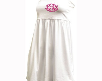 M/L Monogrammed Swimsuit Cover-Up - White