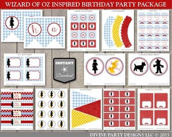 INSTANT DOWNLOAD Wizard of Oz Inspired Printable Birthday Party Package / 13 Items / Printable DIY / Oz Collection / Item #100