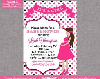 It's a girl Baby Shower Invitation Pink Grey Polka Dot Pregnant New Girl - Printable Digital File