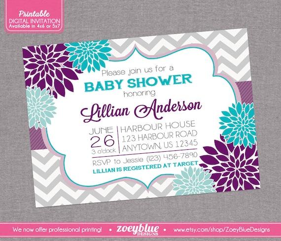 Floral Purple Aqua Blue Baby Shower Invitation By