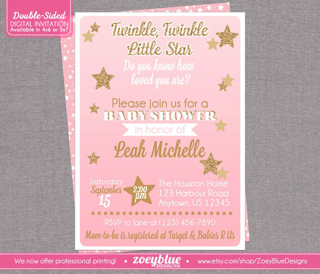 Twinkle Twinkle Little Star Invitations kingteaminfo