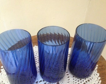 Pretty Set of (3) Cobalt Blue  Glasses-Blown glass-Swirl Design