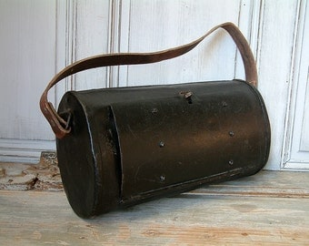 VINTAGE french plumbers tool bag. Metal tool bag with leather strap. Metal tool box with leather strap. Man bag. Artisan work bag.