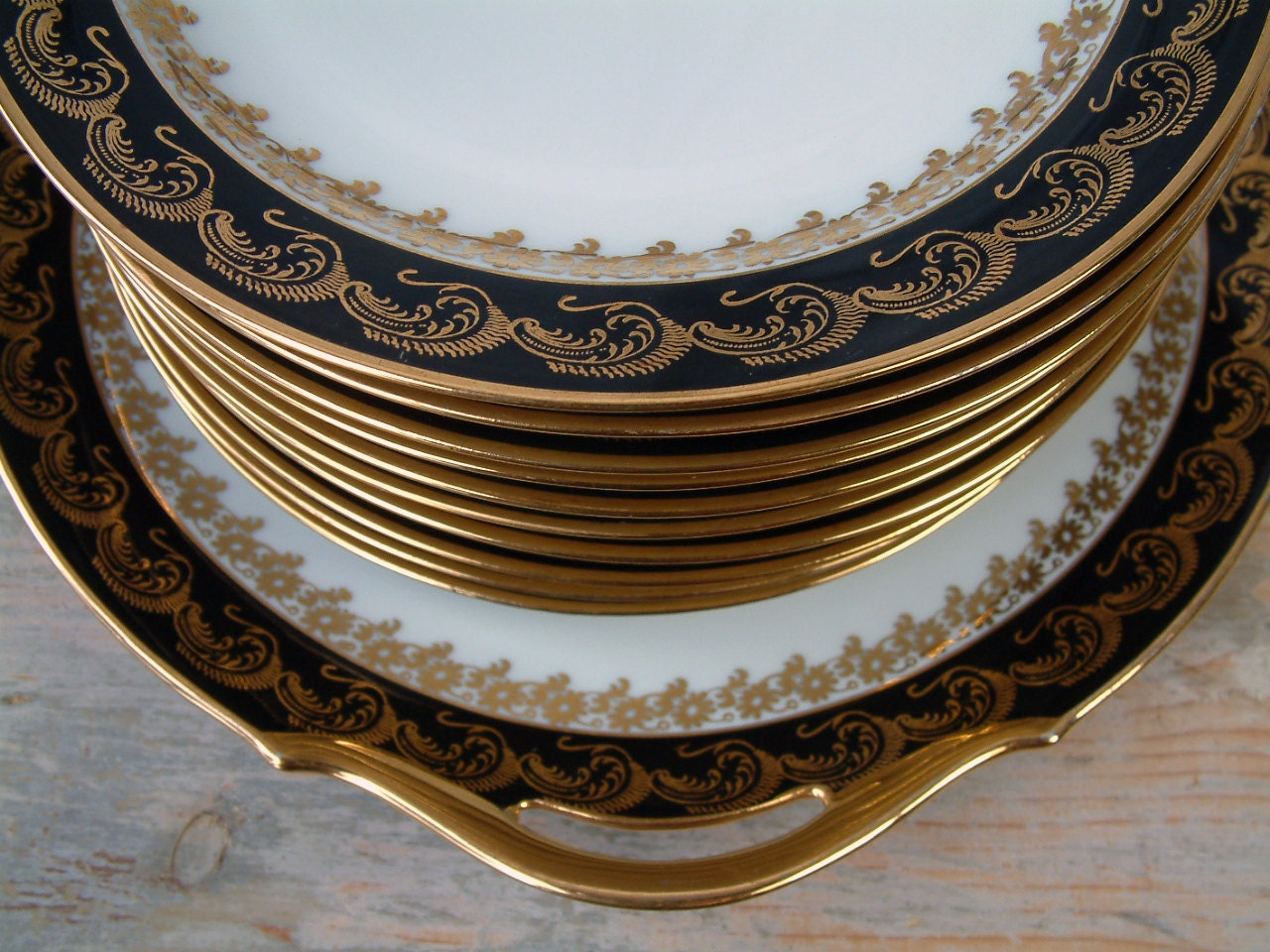 Vintage Limoges Dessert Plates With Matching Cake Plate