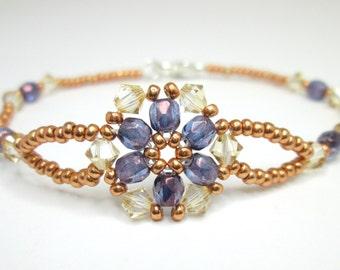 Small flower bracelet, floral bracelet, purple flower, swarovski bracelet, spring bracelet, violet bracelet, delicate seed bead BR006