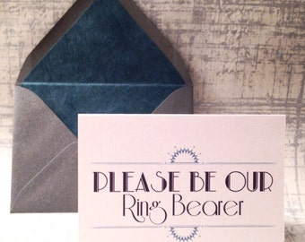 Please Be Our Ring Bearer Card, Will You Be Our Ring Bearer, Ring Bearer proposal, Art Deco, Steel Gray Envelope with Slate Blue Liner