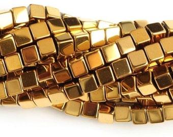 "1025 4mm hematite Metallic golden coated cube loose gemstone beads 16"""