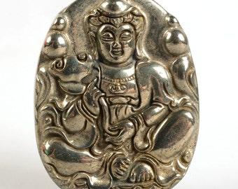 g2155 Pyrite carved buddha pendant bead 53mm