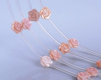0710 10mm Mother of pearl MOP Pink shell rose flower loose beads 15pcs (both sides carved)